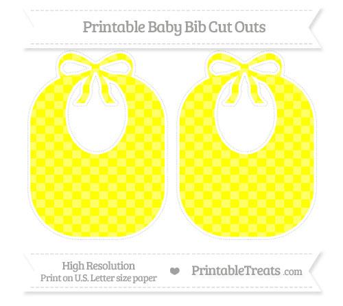 Free Yellow Checker Pattern Large Baby Bib Cut Outs