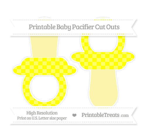 Free Yellow Checker Pattern Large Baby Pacifier Cut Outs