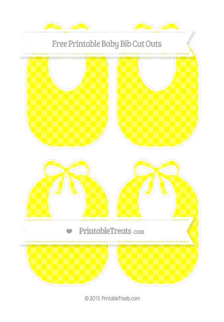 Free Yellow Checker Pattern Medium Baby Bib Cut Outs