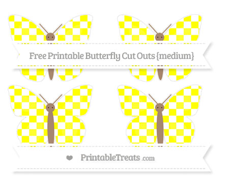 Free Yellow Checker Pattern Medium Butterfly Cut Outs