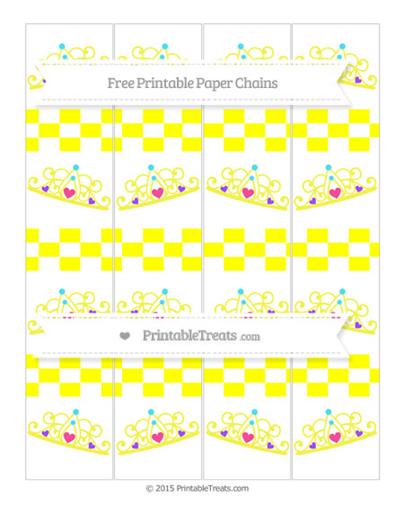 Free Yellow Checker Pattern Princess Tiara Paper Chains