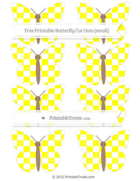 Free Yellow Checker Pattern Small Butterfly Cut Outs