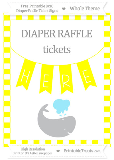 Free Yellow Checker Pattern Whale 8x10 Diaper Raffle Ticket Sign
