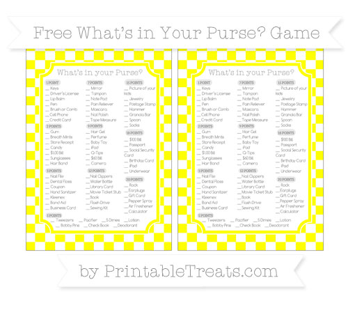 Free Yellow Checker Pattern What's in Your Purse Baby Shower Game