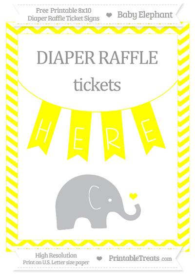 Free Yellow Chevron Baby Elephant 8x10 Diaper Raffle Ticket Sign