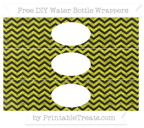 Free Yellow Chevron Chalk Style DIY Water Bottle Wrappers