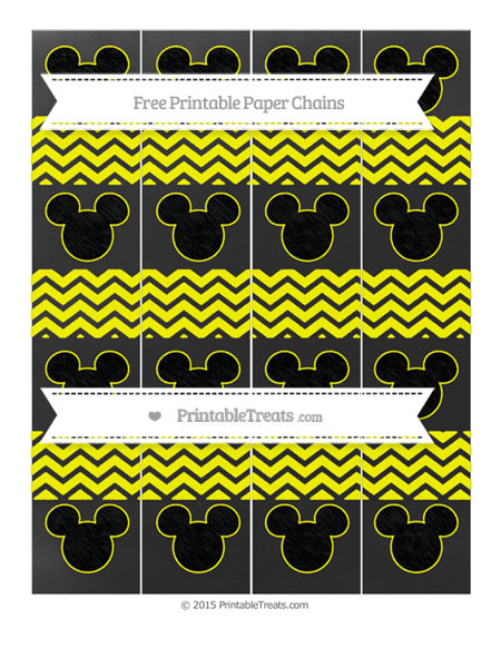 Free Yellow Chevron Chalk Style Mickey Mouse Paper Chains