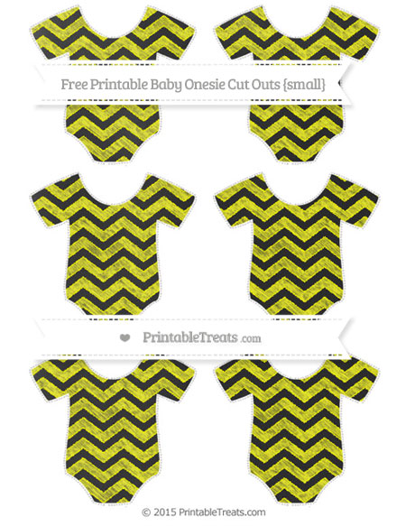 Free Yellow Chevron Chalk Style Small Baby Onesie Cut Outs