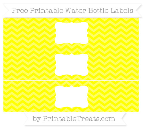 Free Yellow Chevron Water Bottle Labels