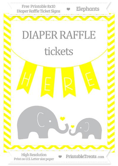 Free Yellow Chevron Elephant 8x10 Diaper Raffle Ticket Sign