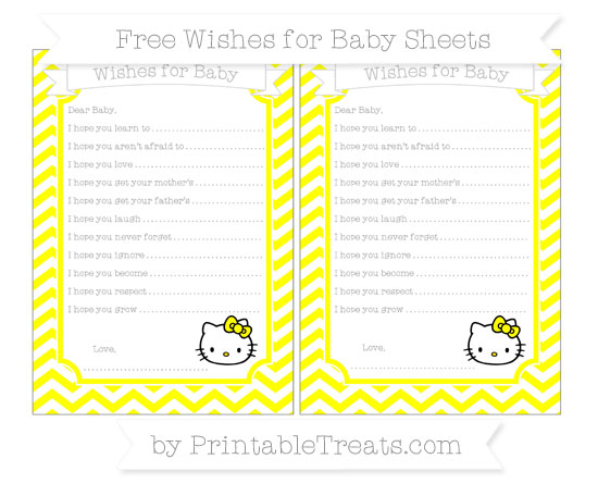 Free Yellow Chevron Hello Kitty Wishes for Baby Sheets