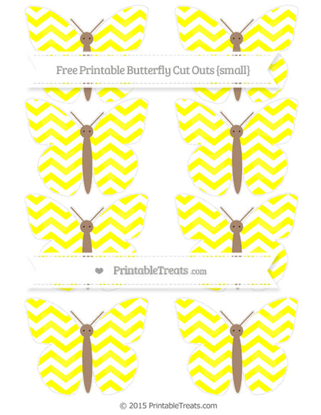 Free Yellow Chevron Small Butterfly Cut Outs