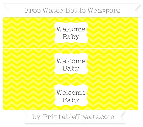Free Yellow Chevron Welcome Baby Water Bottle Wrappers
