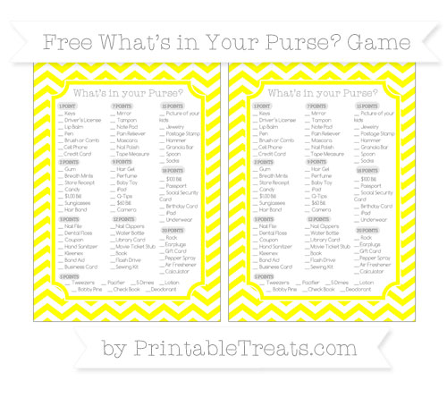 Free Yellow Chevron What's in Your Purse Baby Shower Game