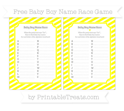 Free Yellow Diagonal Striped Baby Boy Name Race Game