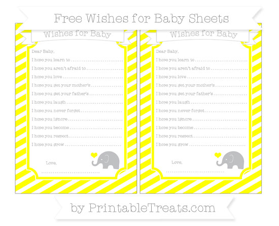 Free Yellow Diagonal Striped Baby Elephant Wishes for Baby Sheets