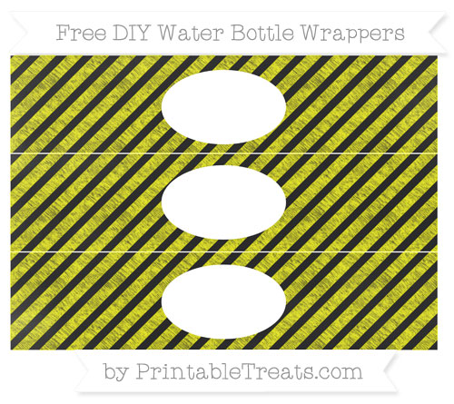 Free Yellow Diagonal Striped Chalk Style DIY Water Bottle Wrappers