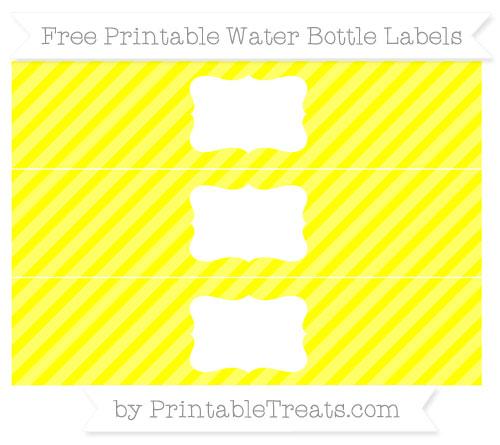 Free Yellow Diagonal Striped Water Bottle Labels