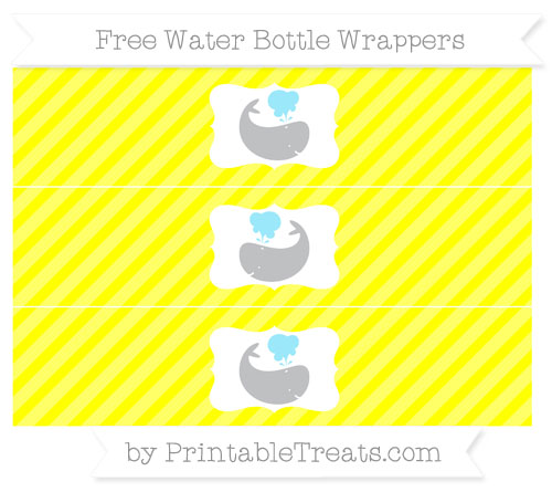 Free Yellow Diagonal Striped Whale Water Bottle Wrappers
