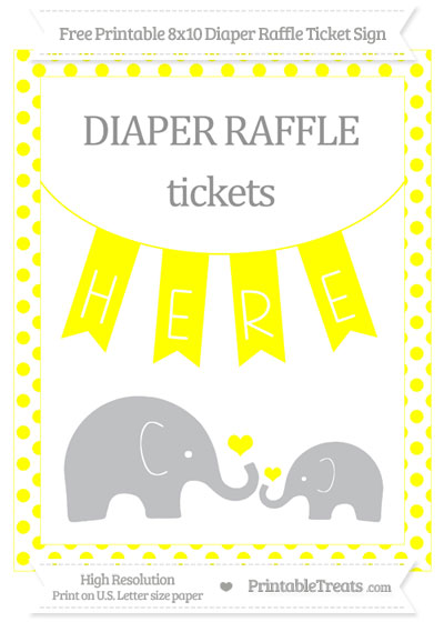 Free Yellow Dotted Elephant 8x10 Diaper Raffle Ticket Sign