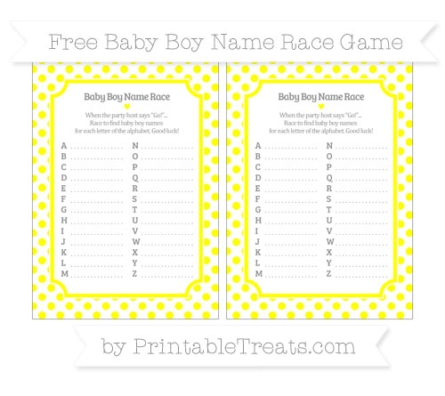 Free Yellow Dotted Pattern Baby Boy Name Race Game