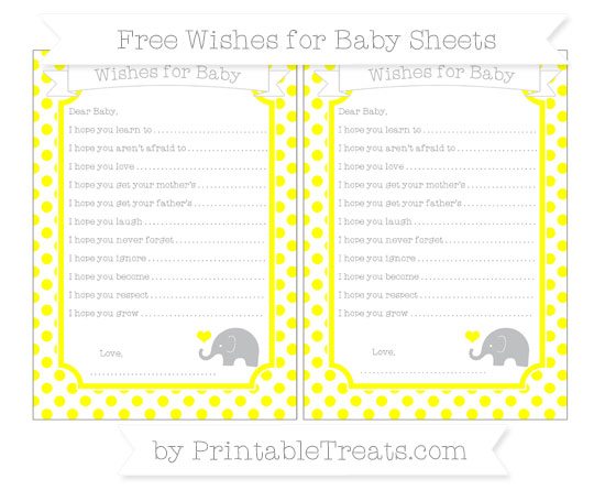 Free Yellow Dotted Pattern Baby Elephant Wishes for Baby Sheets