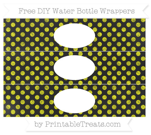 Free Yellow Dotted Pattern Chalk Style DIY Water Bottle Wrappers