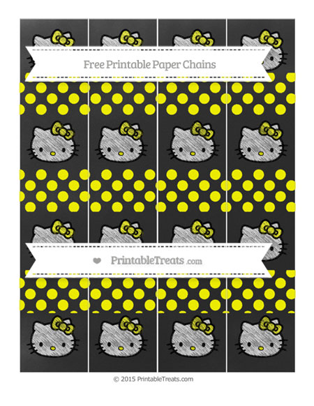 Free Yellow Dotted Pattern Chalk Style Hello Kitty Paper Chains