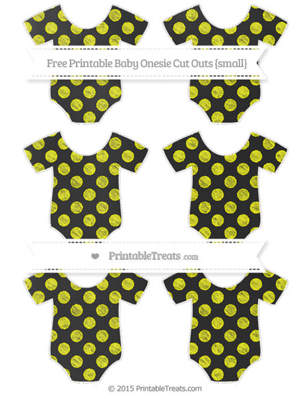 Free Yellow Dotted Pattern Chalk Style Small Baby Onesie Cut Outs
