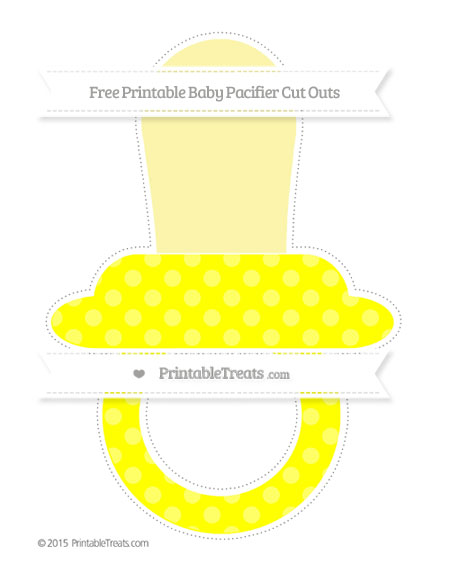 Free Yellow Dotted Pattern Extra Large Baby Pacifier Cut Outs