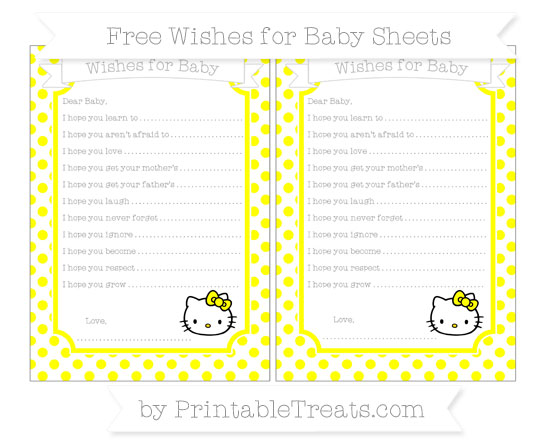 Free Yellow Dotted Pattern Hello Kitty Wishes for Baby Sheets