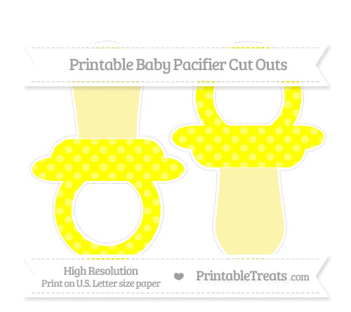 Free Yellow Dotted Pattern Large Baby Pacifier Cut Outs