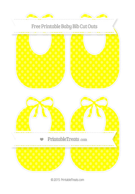 Free Yellow Dotted Pattern Medium Baby Bib Cut Outs