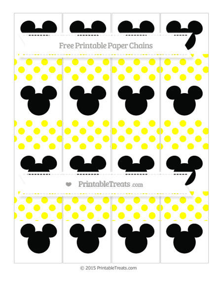 Free Yellow Dotted Pattern Mickey Mouse Paper Chains