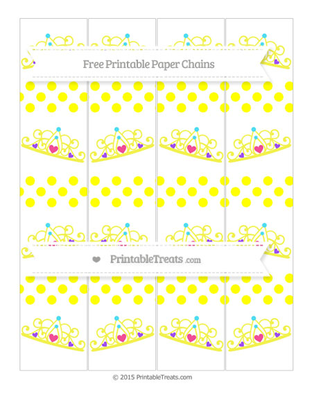 Free Yellow Dotted Pattern Princess Tiara Paper Chains