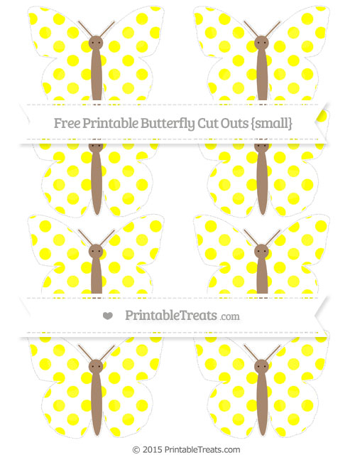 Free Yellow Dotted Pattern Small Butterfly Cut Outs