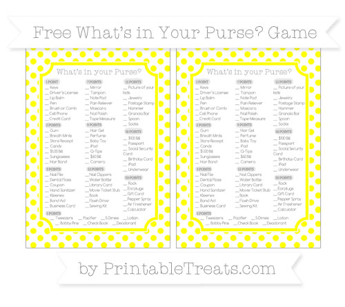 Free Yellow Dotted Pattern What's in Your Purse Baby Shower Game