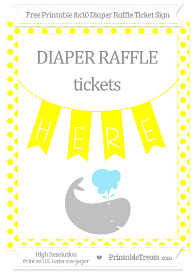 Free Yellow Dotted Whale 8x10 Diaper Raffle Ticket Sign