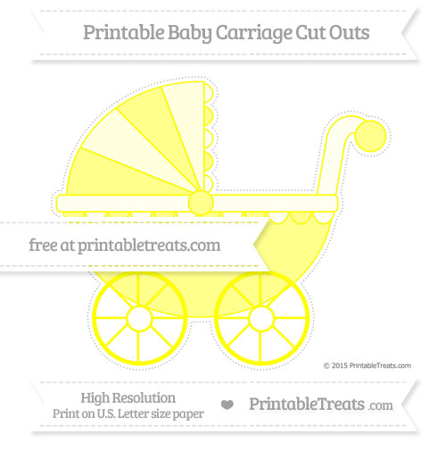Free Yellow Extra Large Baby Carriage Cut Outs
