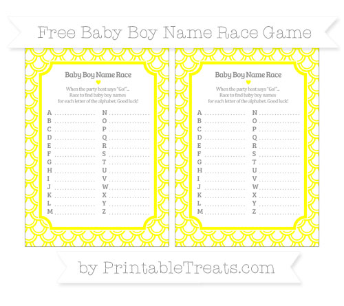 Free Yellow Fish Scale Pattern Baby Boy Name Race Game