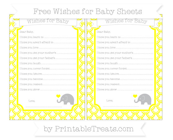 Free Yellow Fish Scale Pattern Baby Elephant Wishes for Baby Sheets