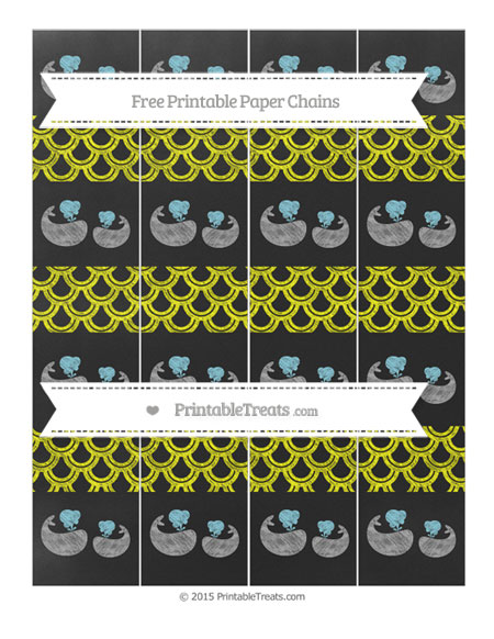 Free Yellow Fish Scale Pattern Chalk Style Baby Whale Paper Chains