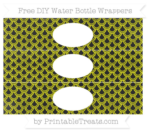 Free Yellow Fish Scale Pattern Chalk Style DIY Water Bottle Wrappers