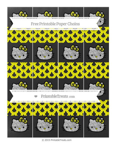 Free Yellow Fish Scale Pattern Chalk Style Hello Kitty Paper Chains