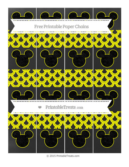 Free Yellow Fish Scale Pattern Chalk Style Mickey Mouse Paper Chains