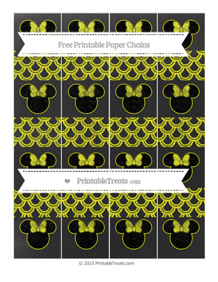 Free Yellow Fish Scale Pattern Chalk Style Minnie Mouse Paper Chains