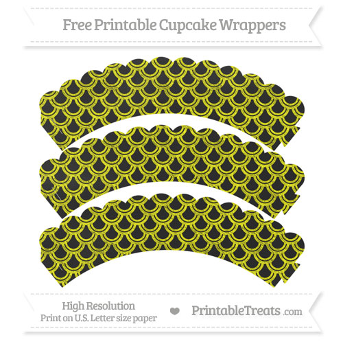 Free Yellow Fish Scale Pattern Chalk Style Scalloped Cupcake Wrappers