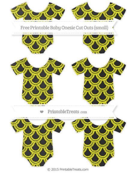 Free Yellow Fish Scale Pattern Chalk Style Small Baby Onesie Cut Outs