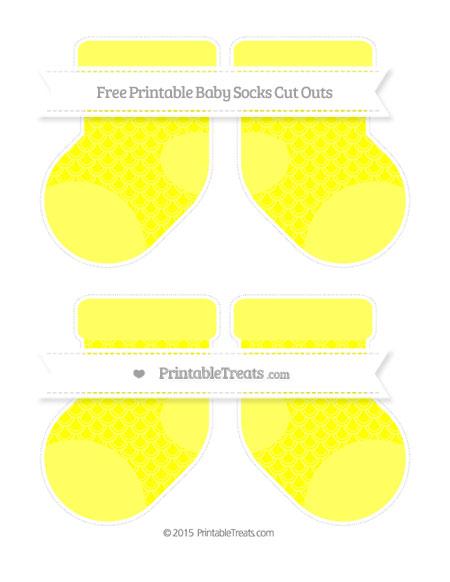 Free Yellow Fish Scale Pattern Medium Baby Socks Cut Outs
