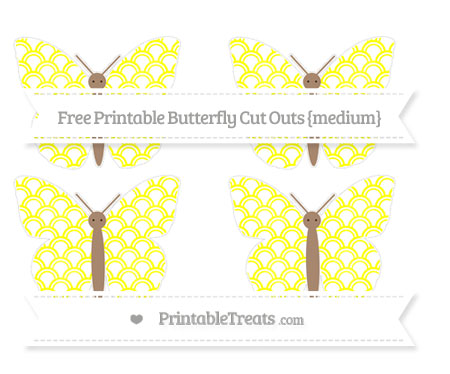 Free Yellow Fish Scale Pattern Medium Butterfly Cut Outs